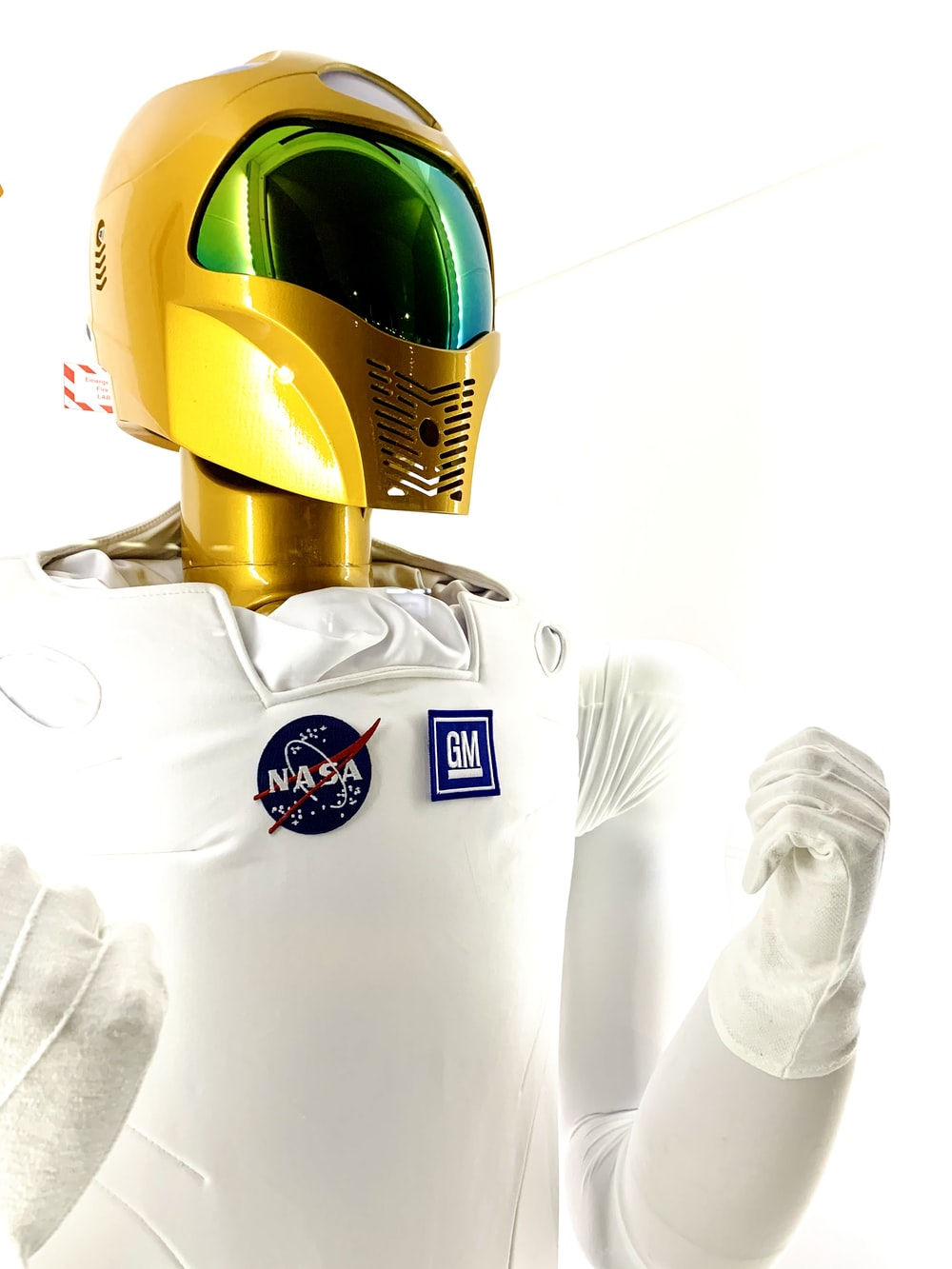 man in white and green helmet