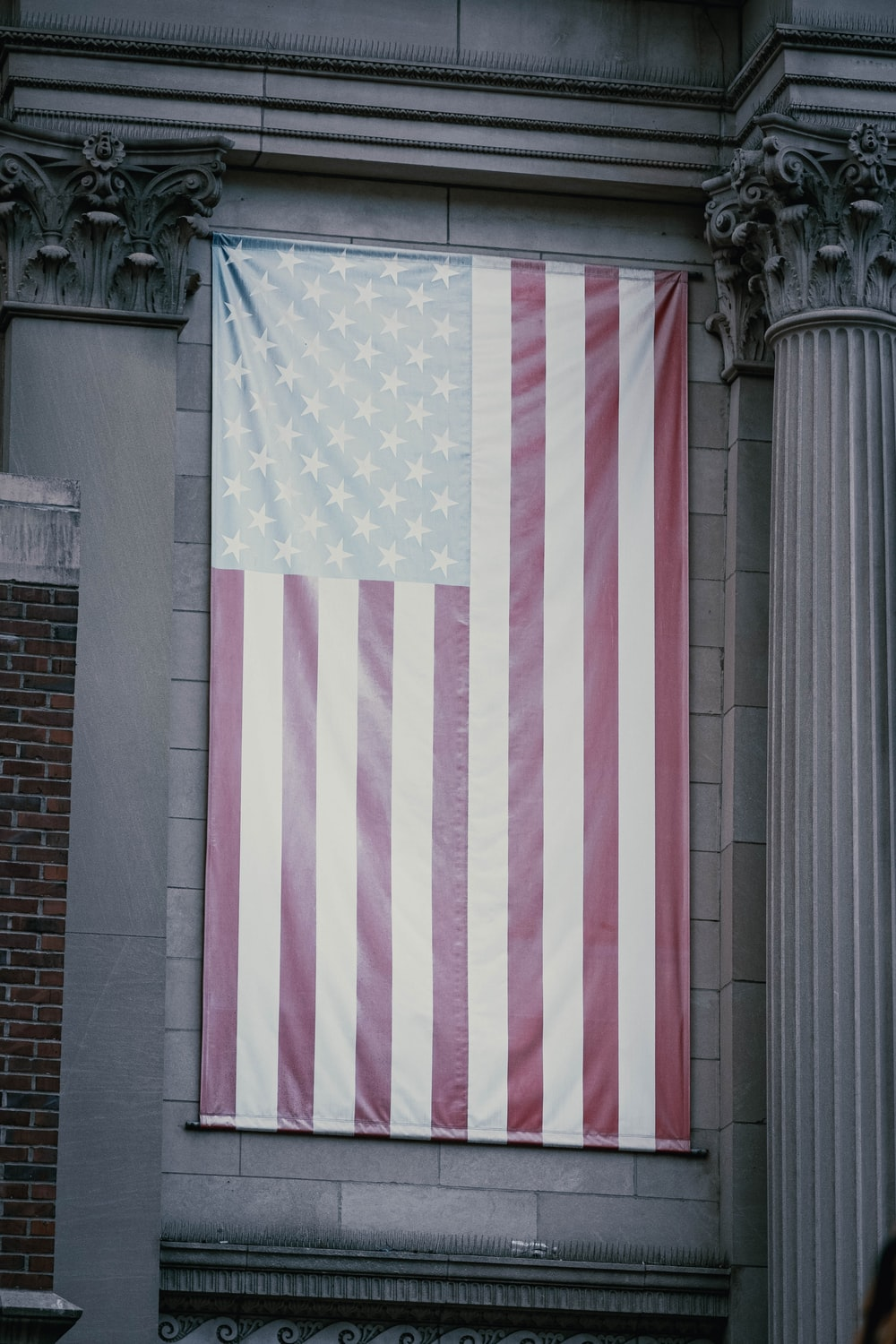 white and pink striped flag