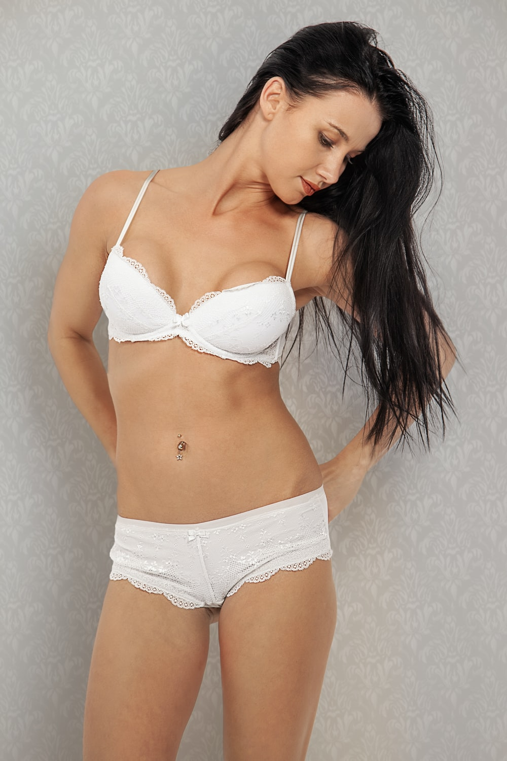 woman in white bra and panty