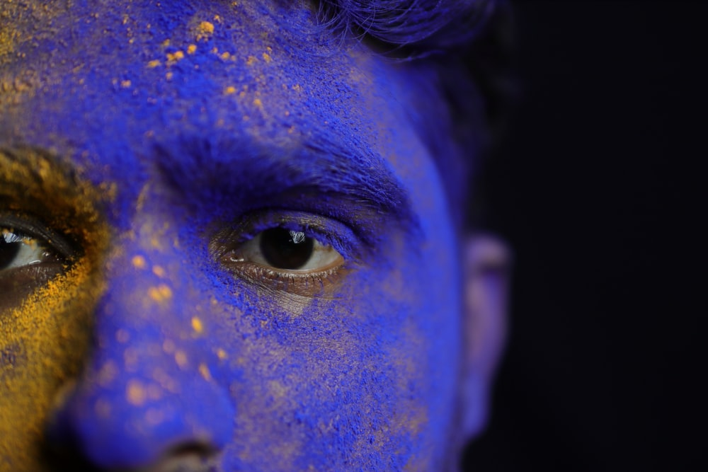 blue and purple face paint