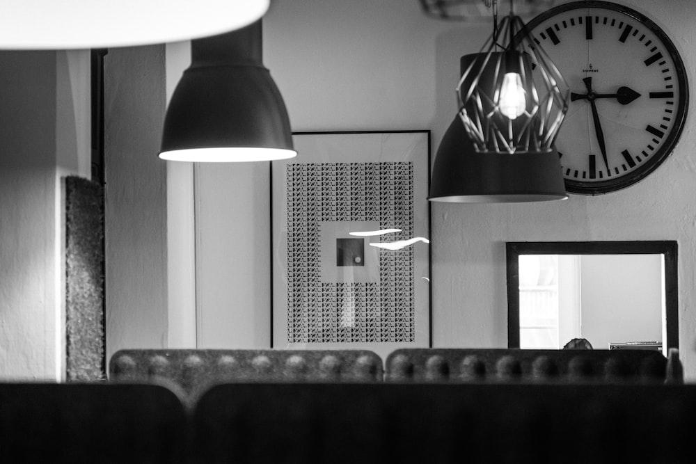 grayscale photo of pendant lamp
