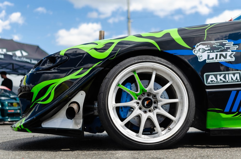 blue and green sports car