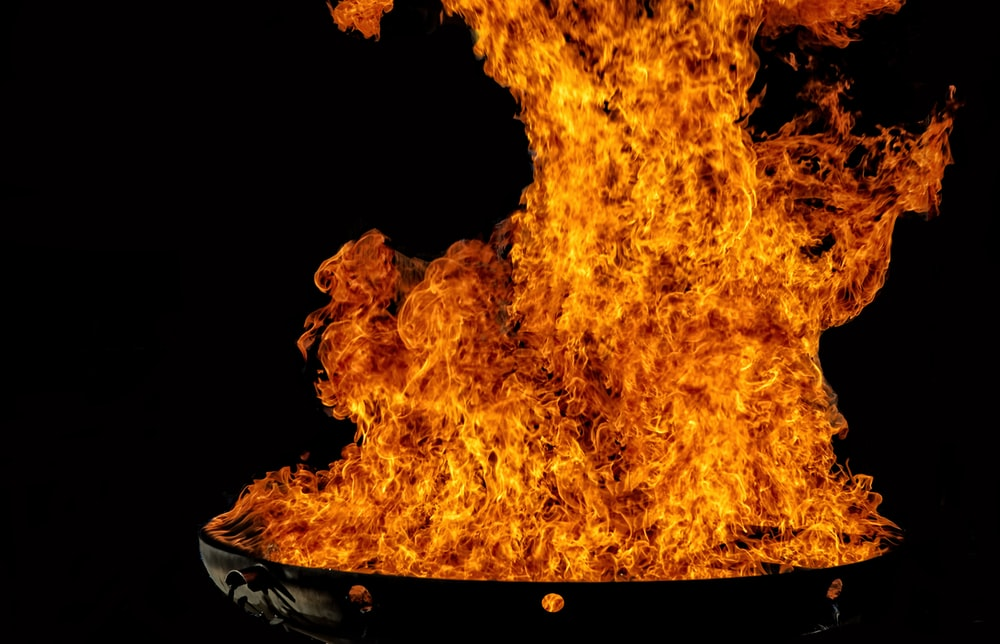 fire in black round bowl