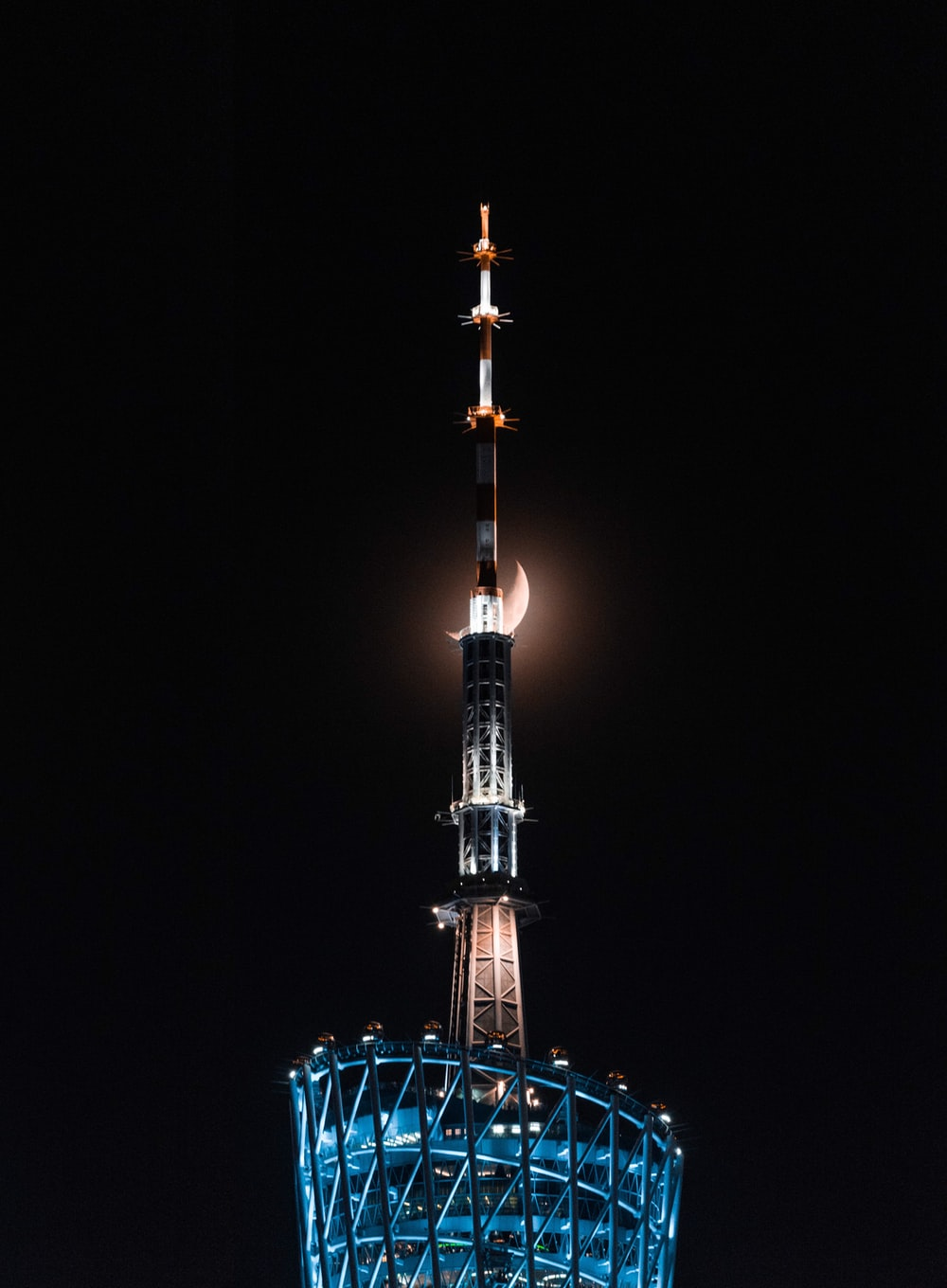 black and white tower during night time