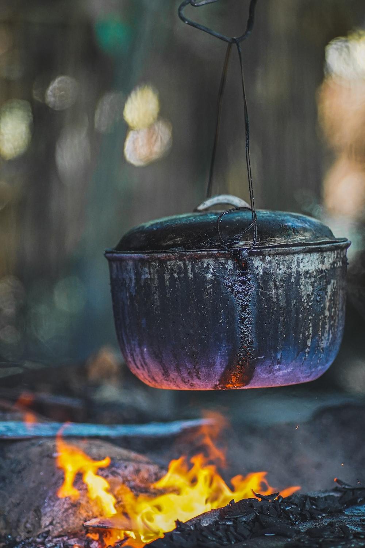 blue ceramic bowl on fire