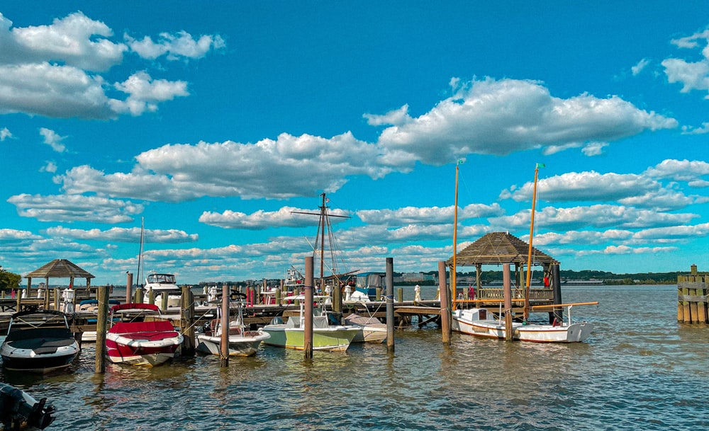 boats on dock under blue sky and white clouds during daytime