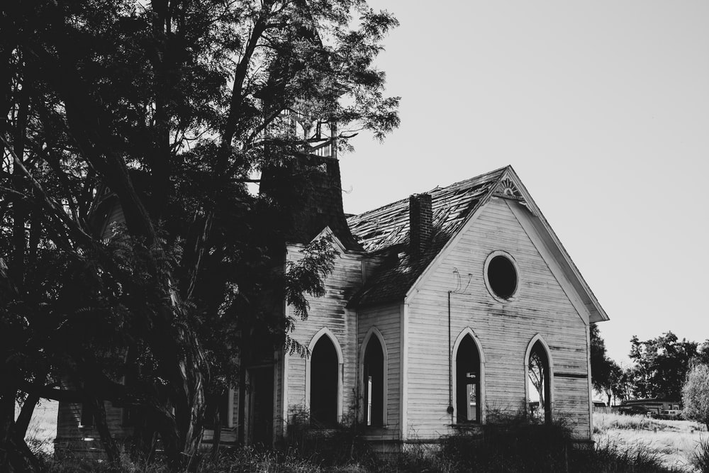 grayscale photo of a house near trees