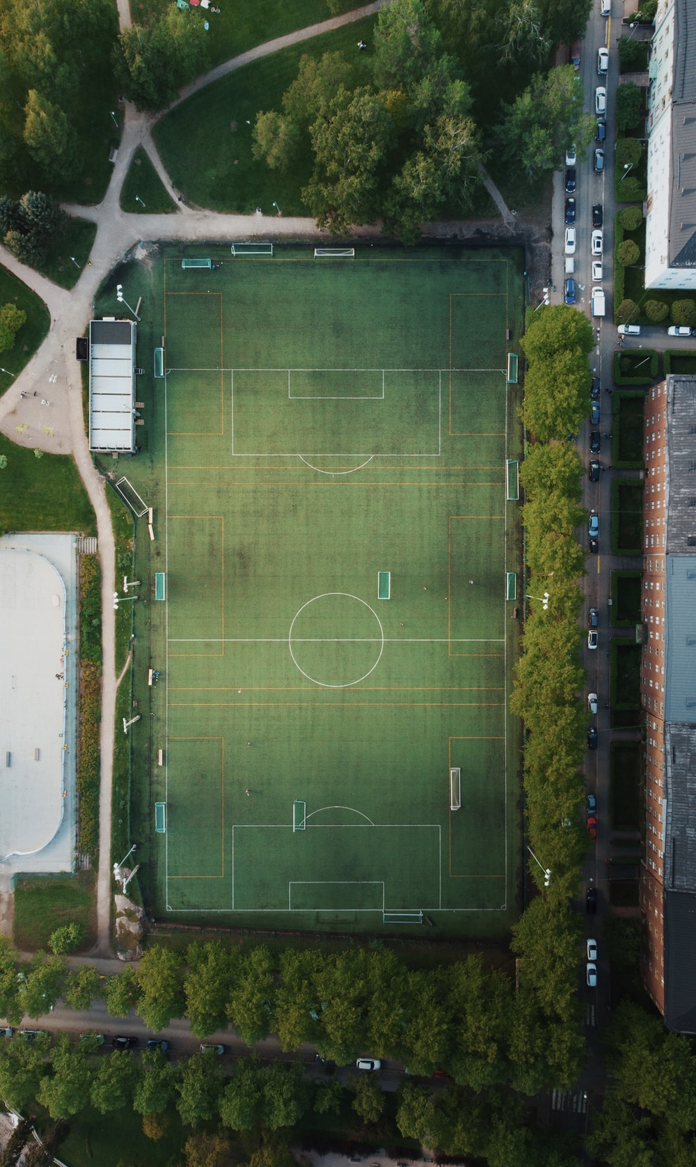 aerial view of soccer field during daytime
