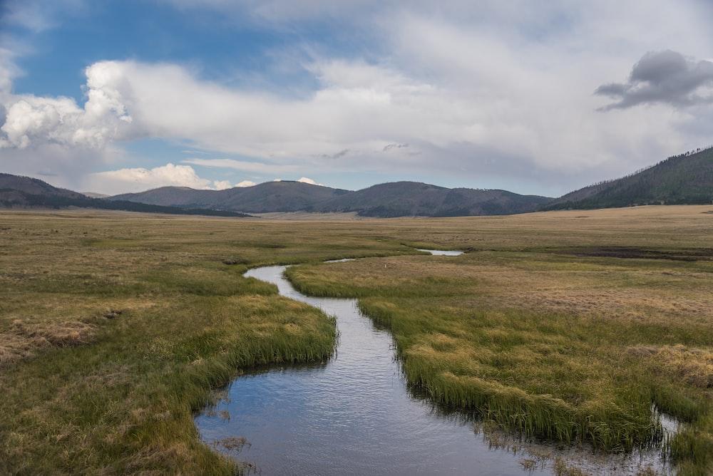 green grass field near lake under white clouds during daytime