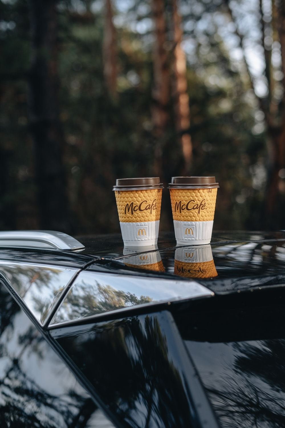 two brown and white disposable cups on black car
