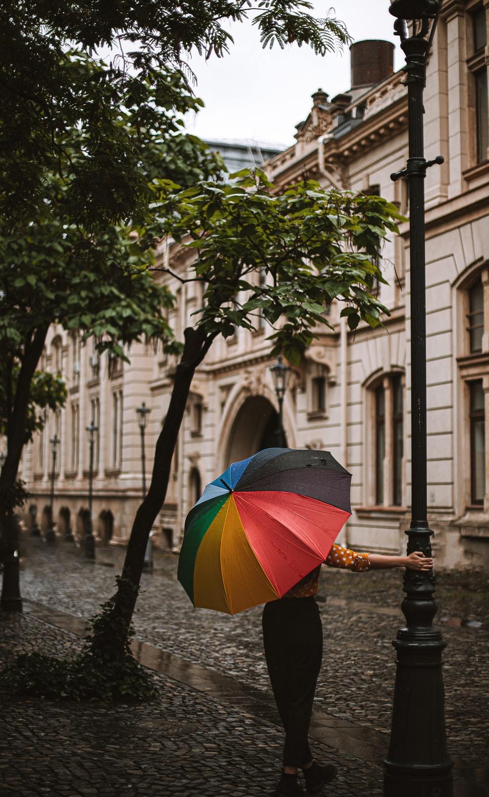 person holding umbrella walking on sidewalk during daytime