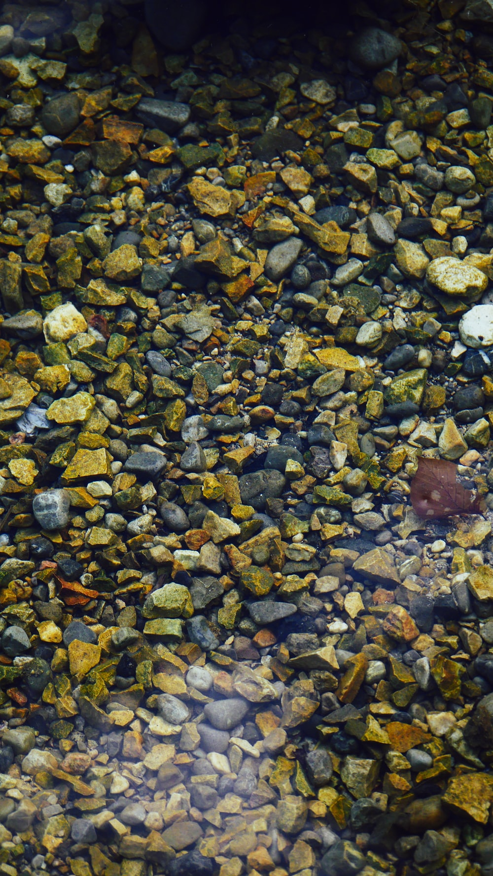 brown and gray stones on body of water