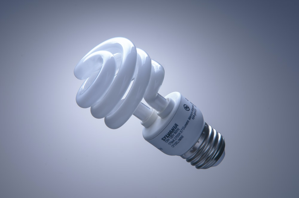 white light bulb on white surface