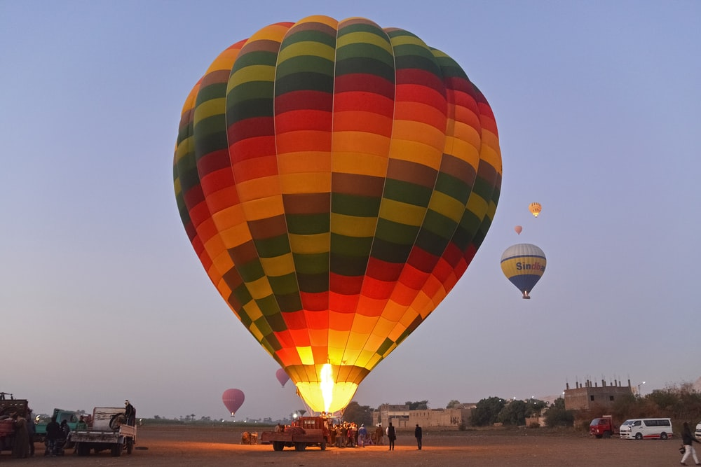 yellow red blue and green hot air balloon