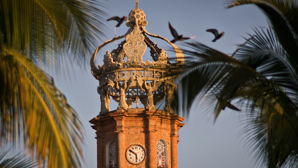 brown and black tower clock