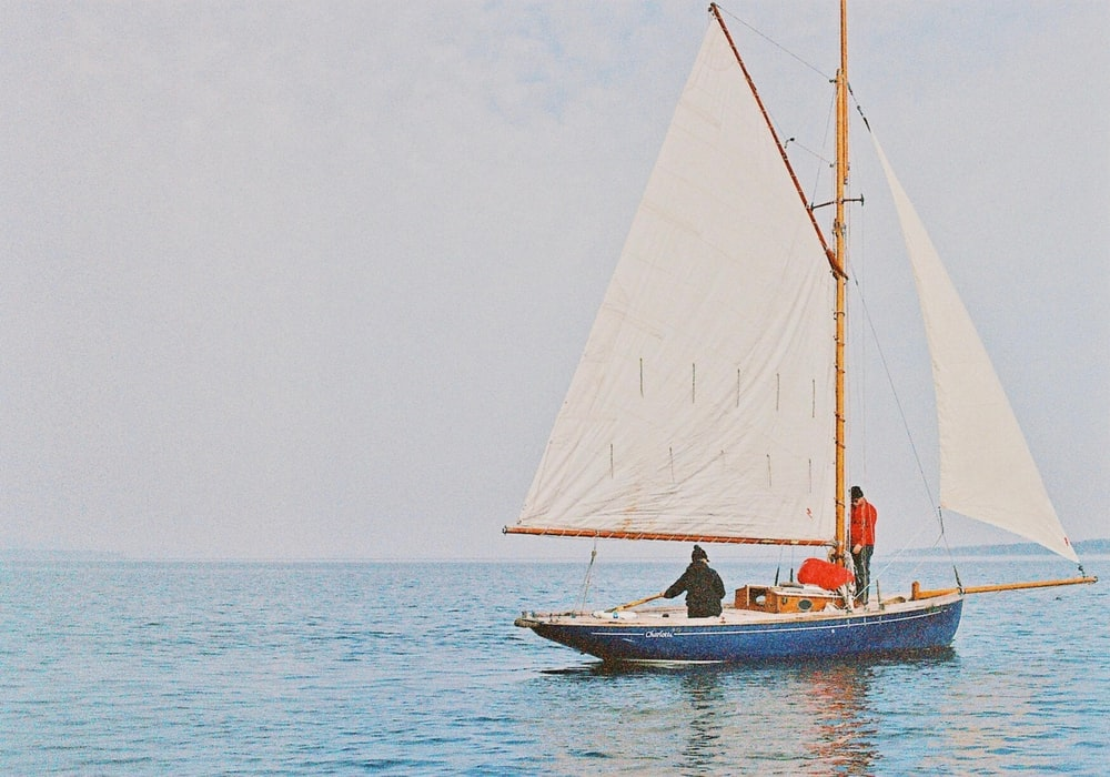 blue and brown boat on sea during daytime