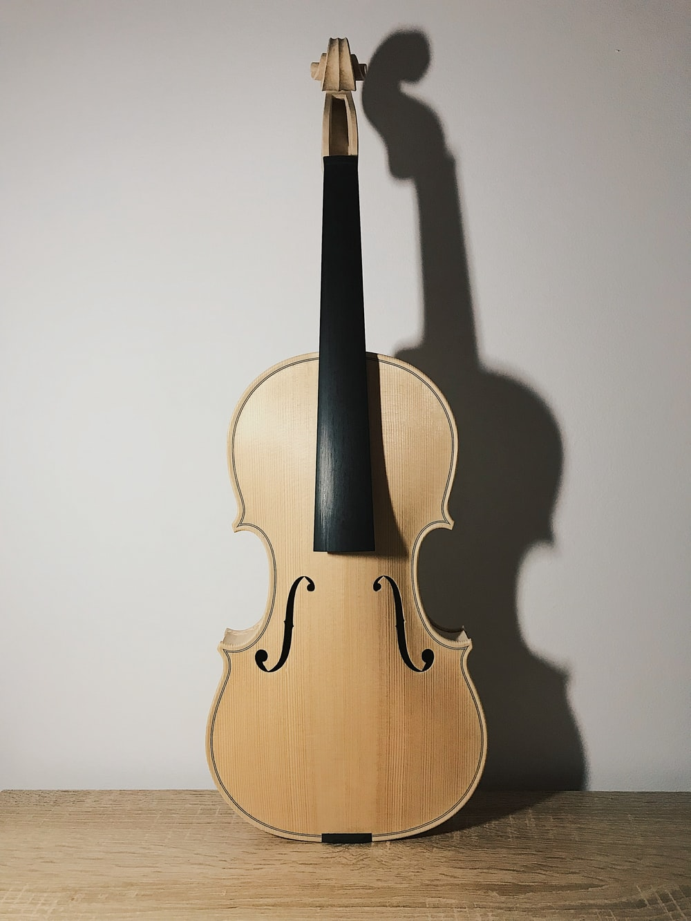 brown violin with black bow