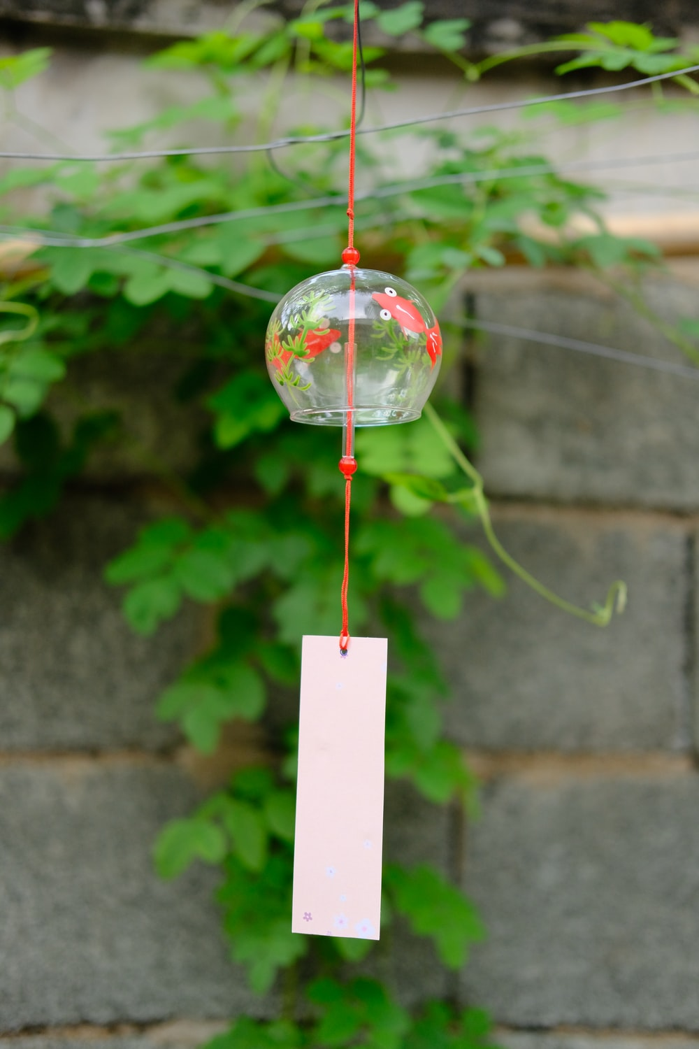 clear glass hanging decor with red and white rope