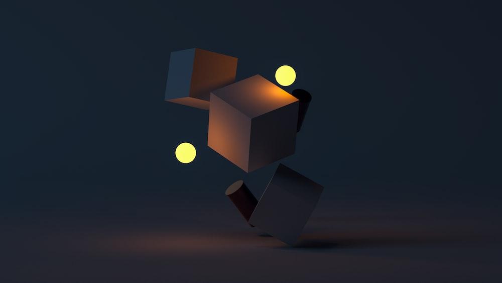 brown cardboard box with yellow light