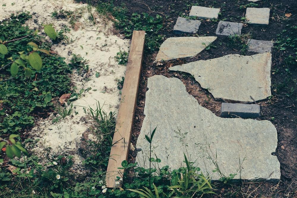brown wooden plank on gray concrete floor