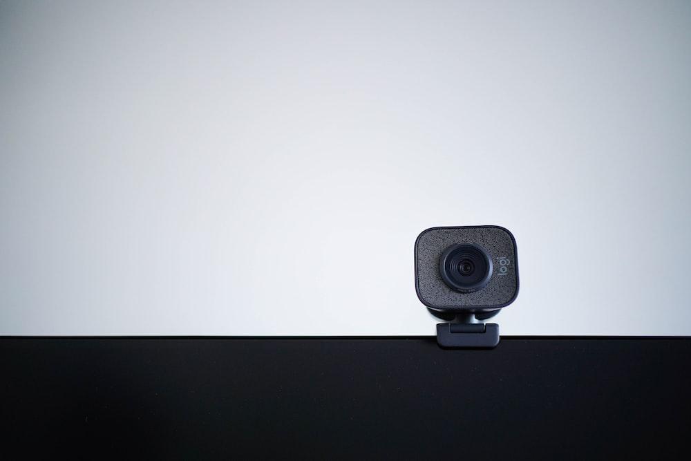 black speaker on white table