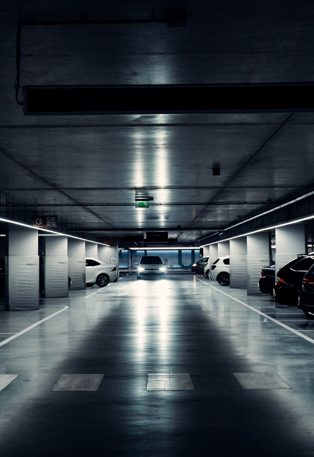 cars parked in a tunnel