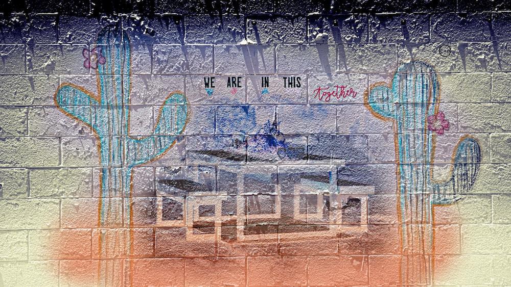 blue and white graffiti wall