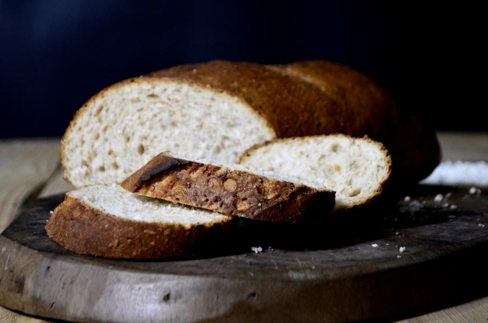 sliced bread on black tray