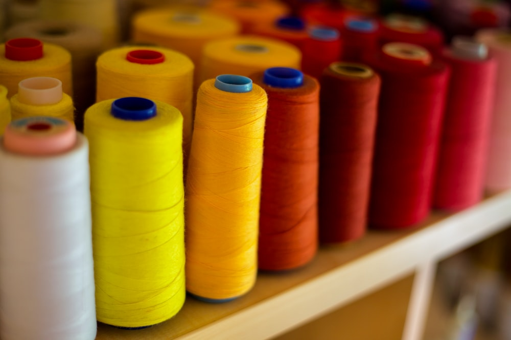 red blue yellow and orange rolled thread