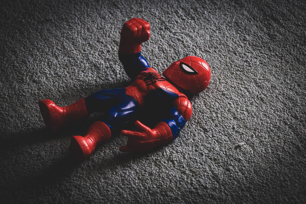 red and blue spider man action figure