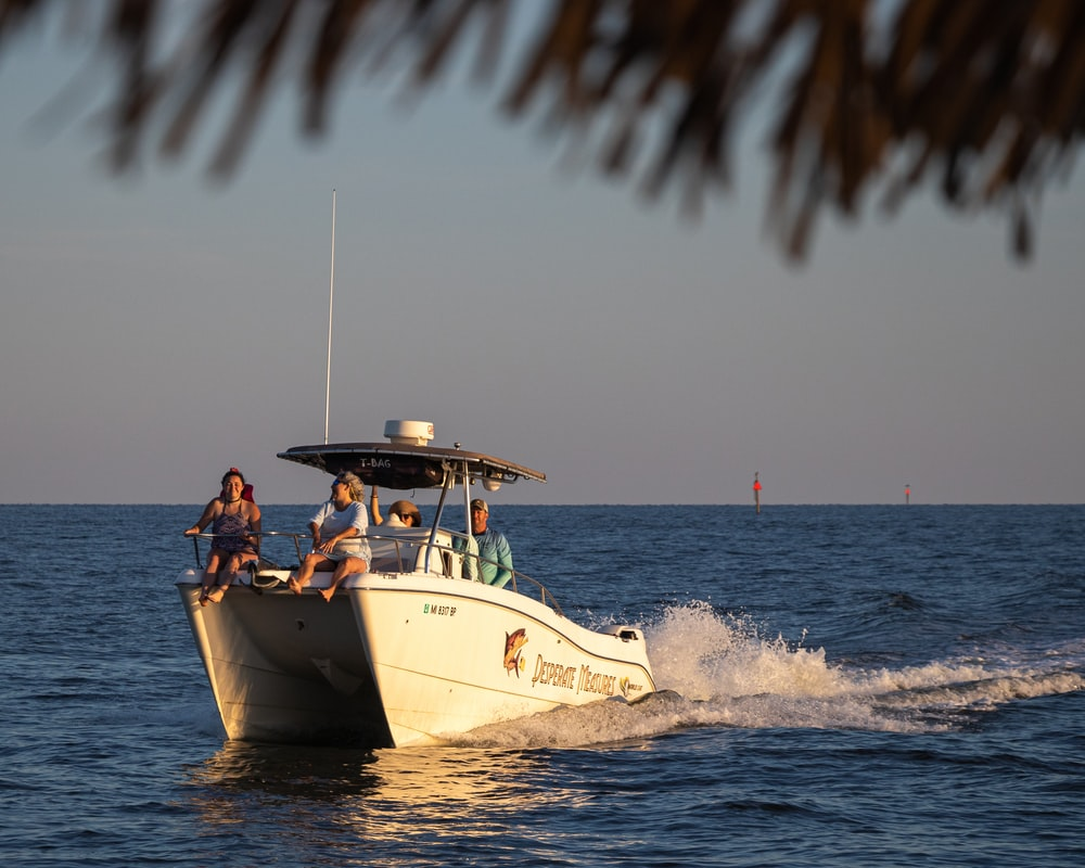 people riding on white and blue boat on sea during daytime