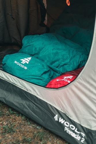 sleeping bag in tent