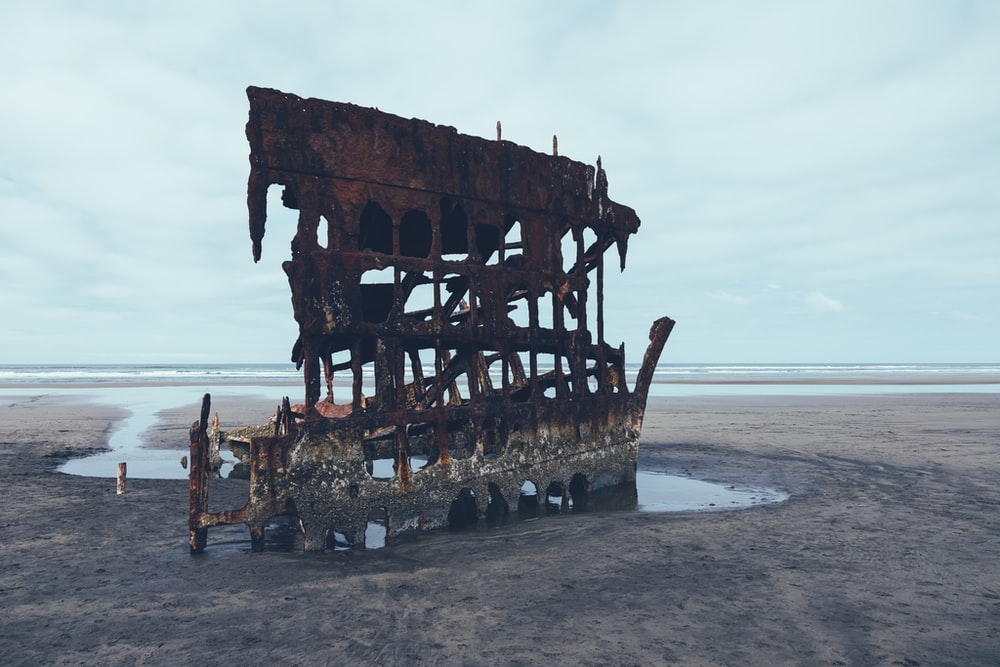 brown wooden ship on sea shore during daytime