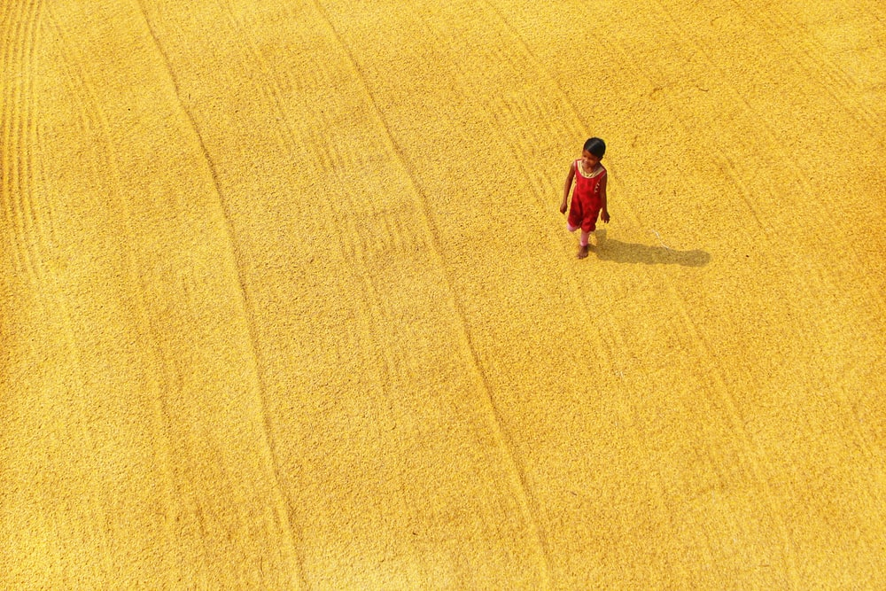 woman in red dress walking on yellow field during daytime