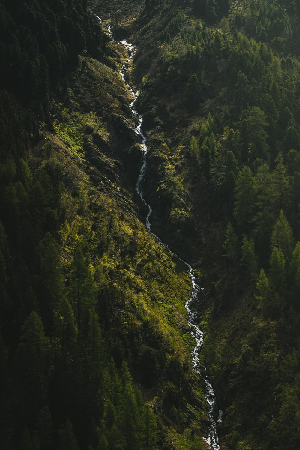 water falls in the middle of green and brown mountain