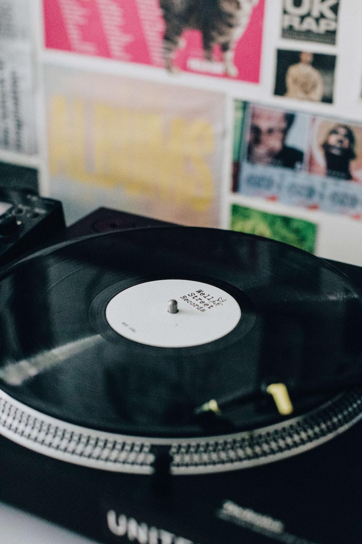 black vinyl record on black vinyl record player