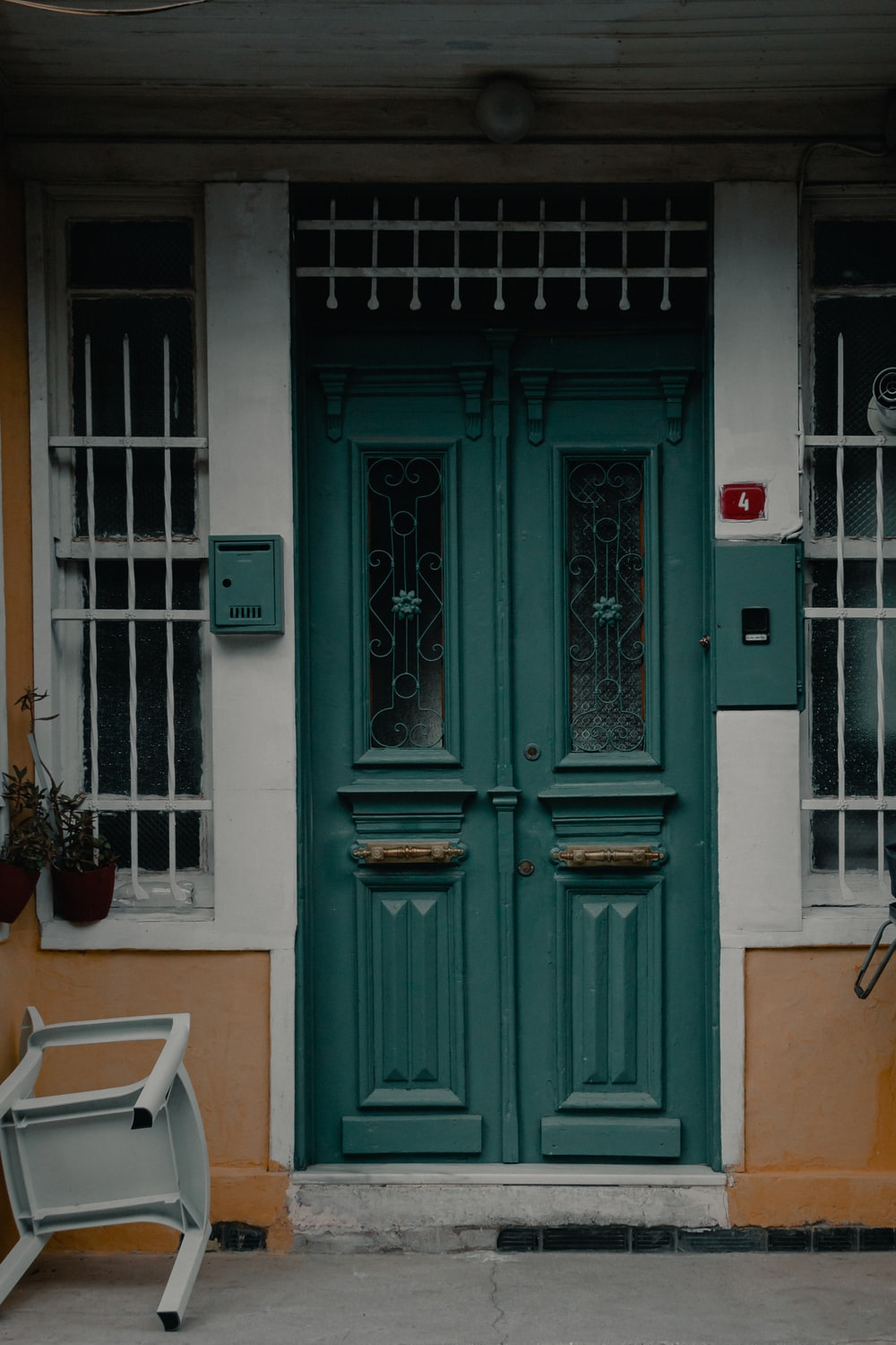 blue wooden door near green potted plant