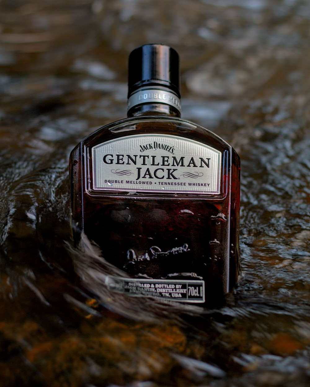 black and silver jack daniels bottle