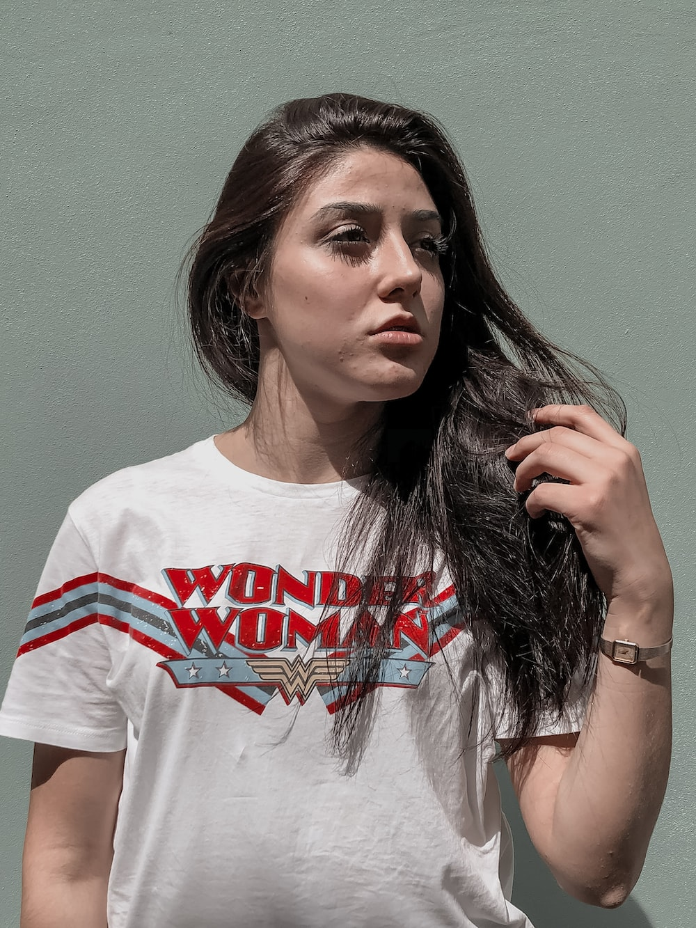 woman in white crew neck t-shirt