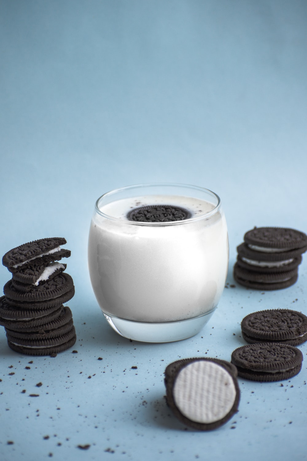 clear glass with milk and cookies