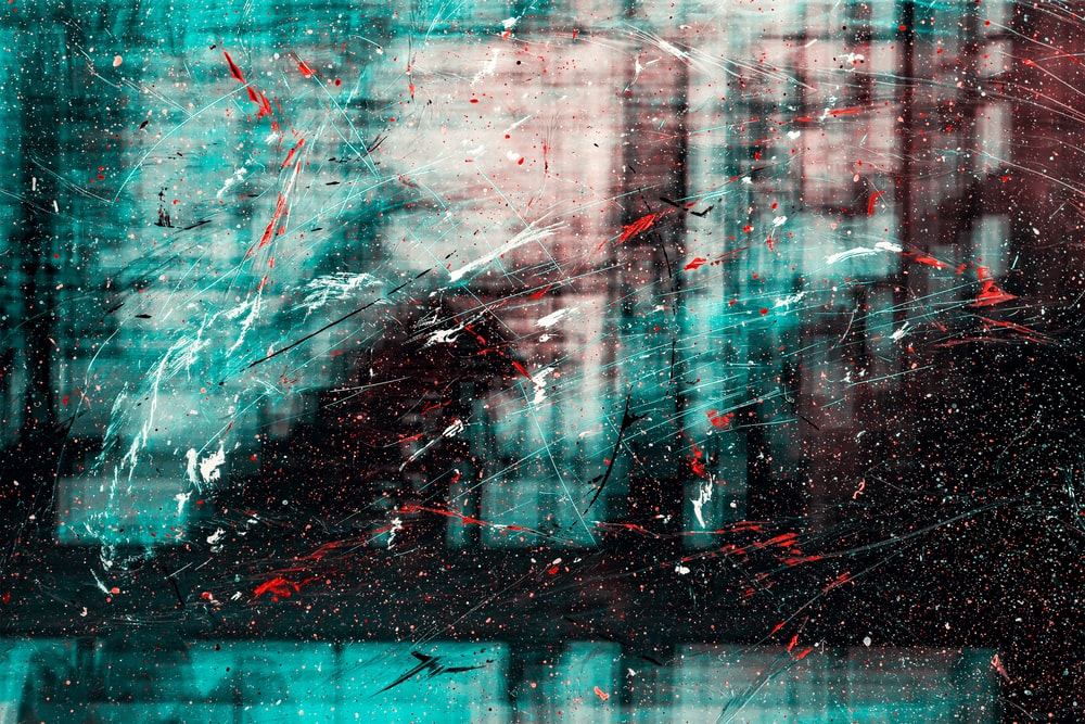 blue and red abstract painting