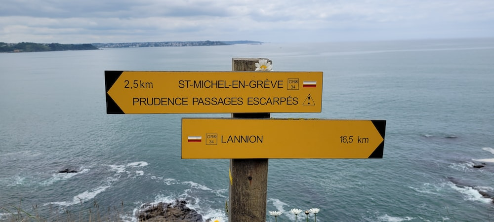 brown wooden signage on sea shore during daytime