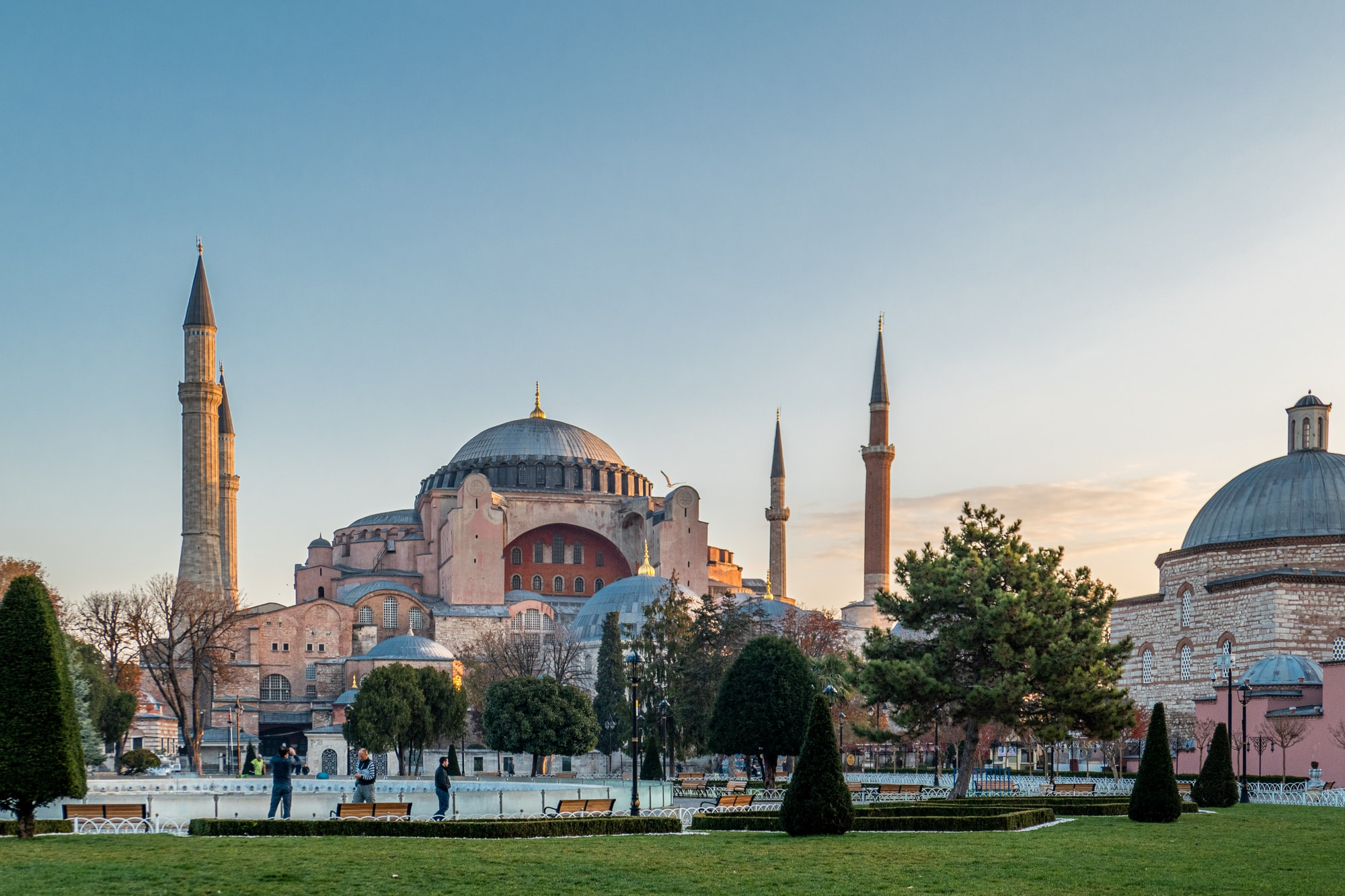 Hagia Sophia, Istanbul Turkey.  One of the greatest existing examples of Byzantine architecture.  It was the largest cathedral in the world for 1000 years.  It was also a Mosque for 500 years and now is a museum.