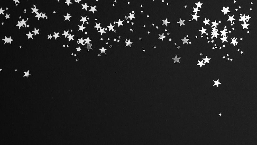 black and white star illustration