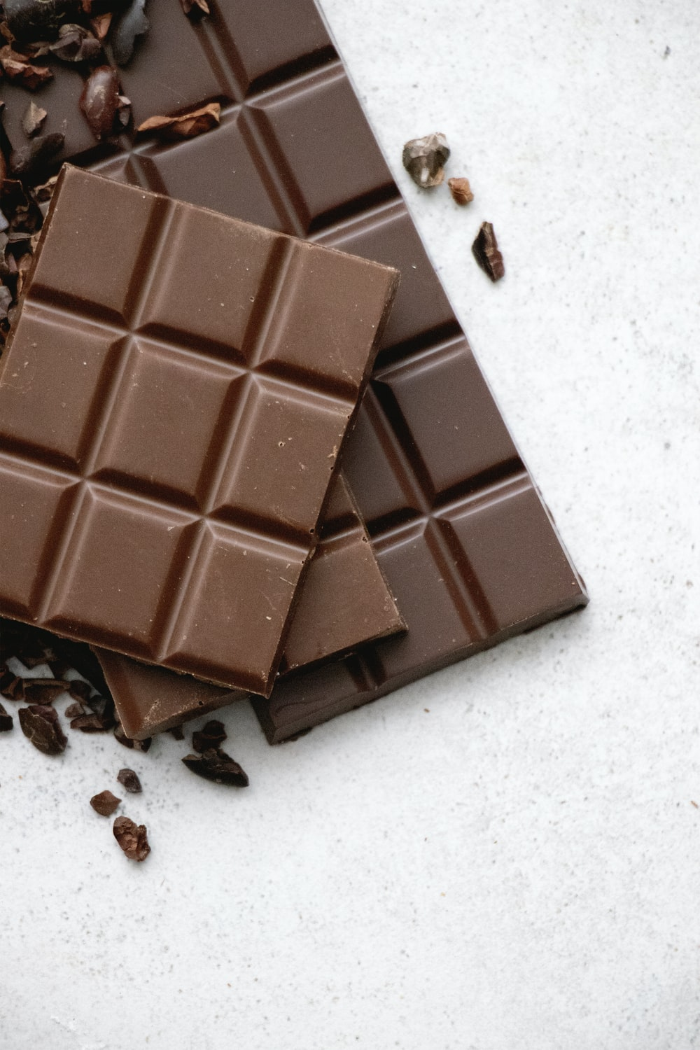 chocolate bar on white table