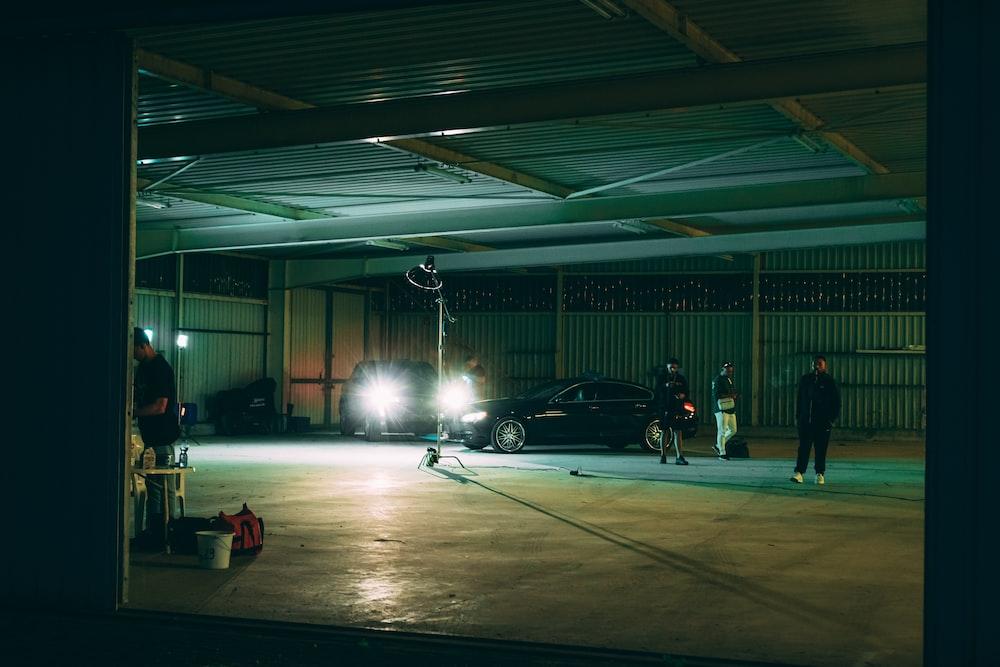 black car on parking lot