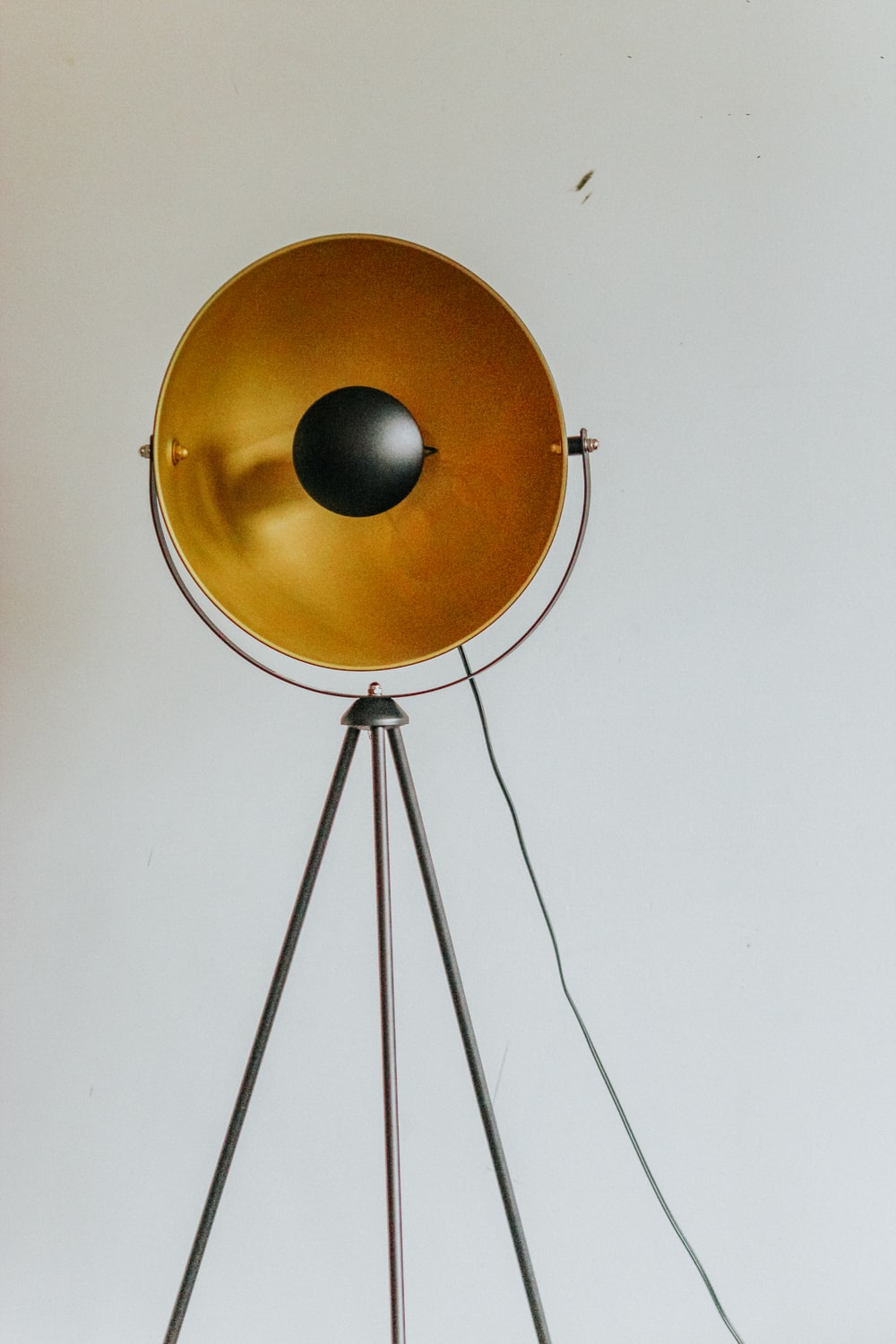 brown and silver round pendant lamp