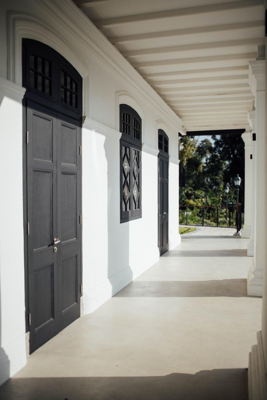 white and black wooden door