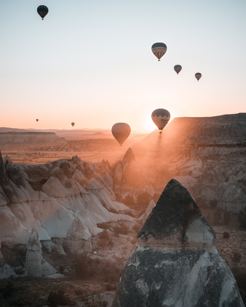 hot air balloons on sky during sunset