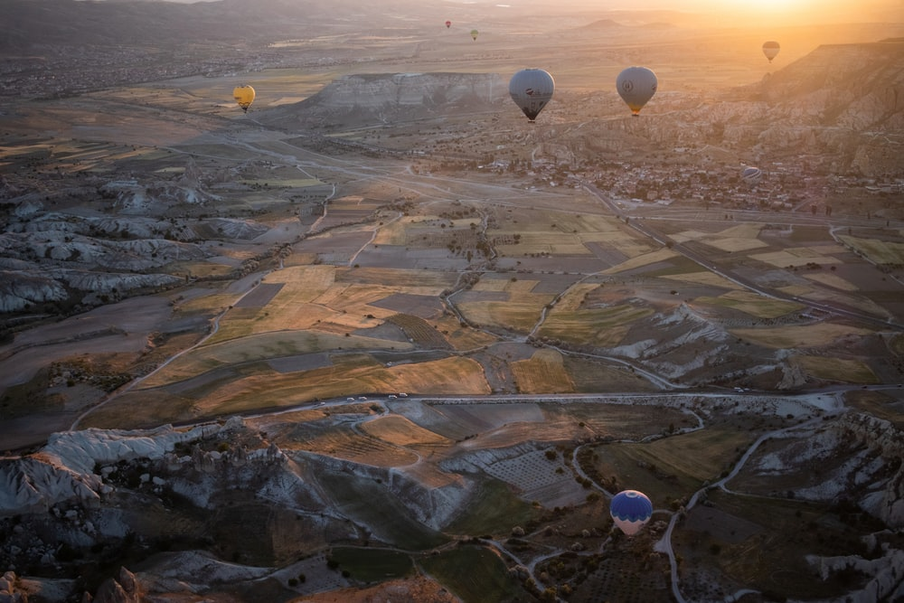 hot air balloons on the sky